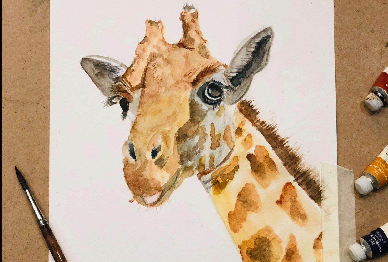 Watercolor Giraffe by Louise De Masi - student project