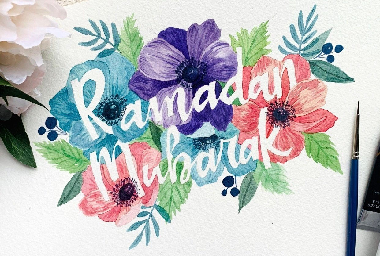 Blooming Ramadan calligraphy - student project