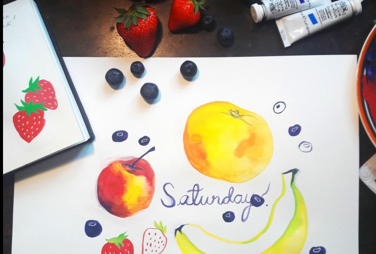 My gouache fruits - student project