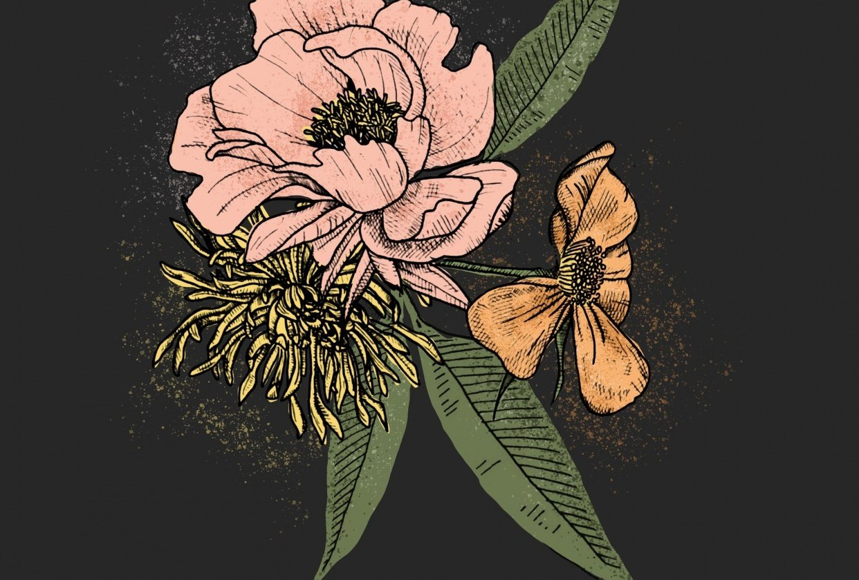Floral Illustration in Photoshop - student project