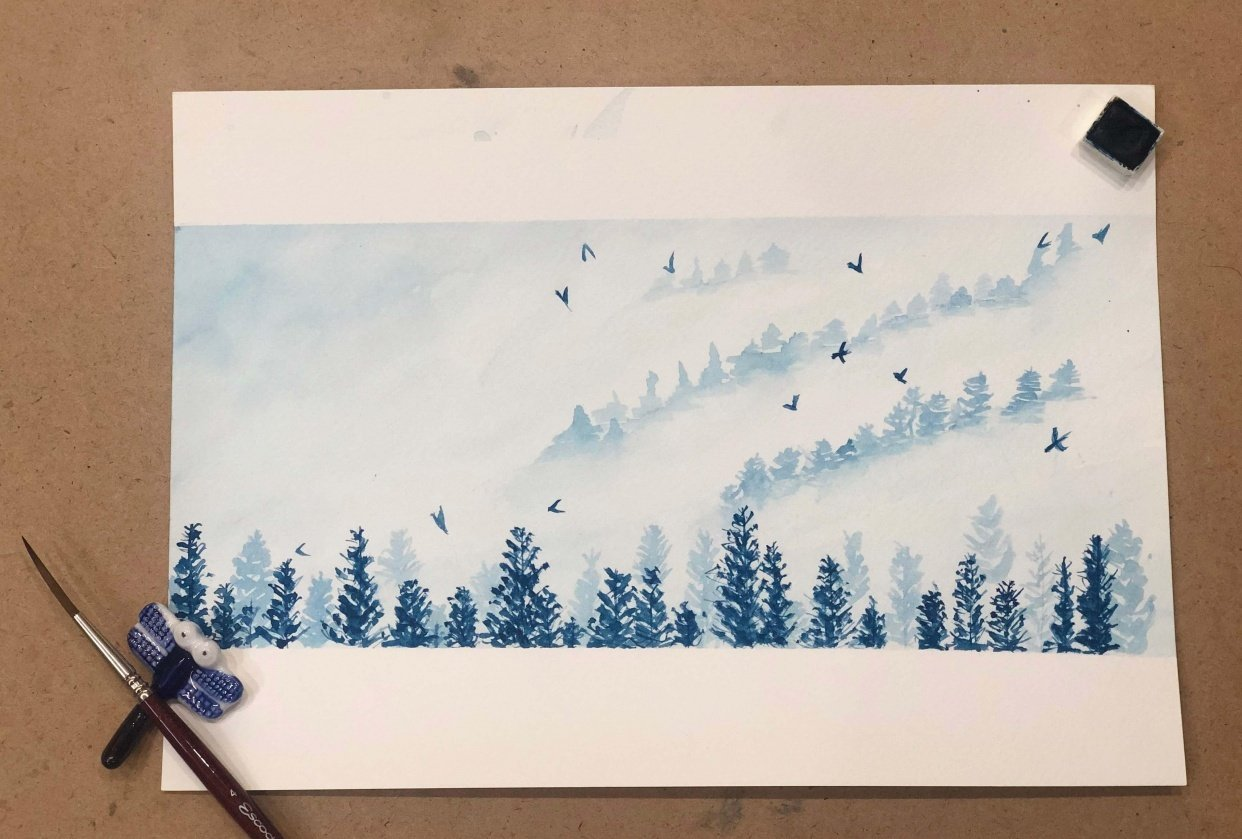 Misty Pines in Monochrome - student project