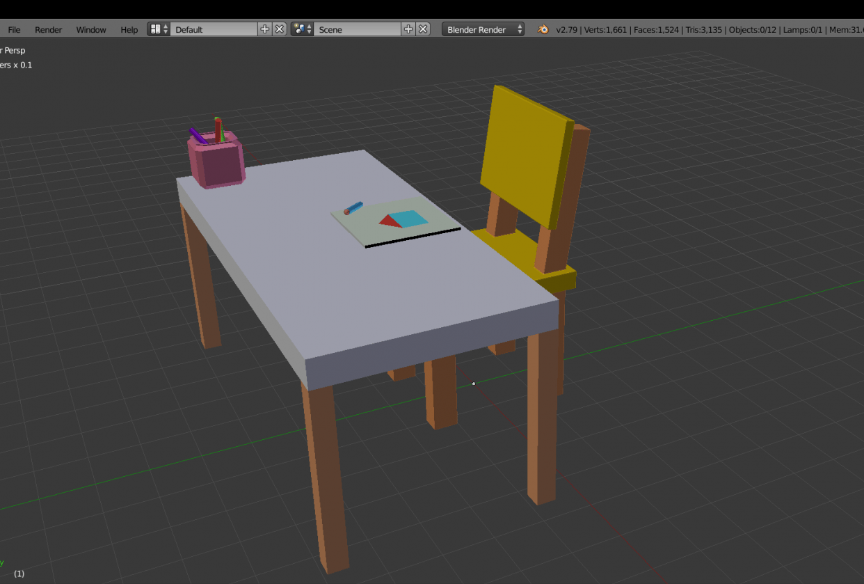 Kindergarden chair and table - student project
