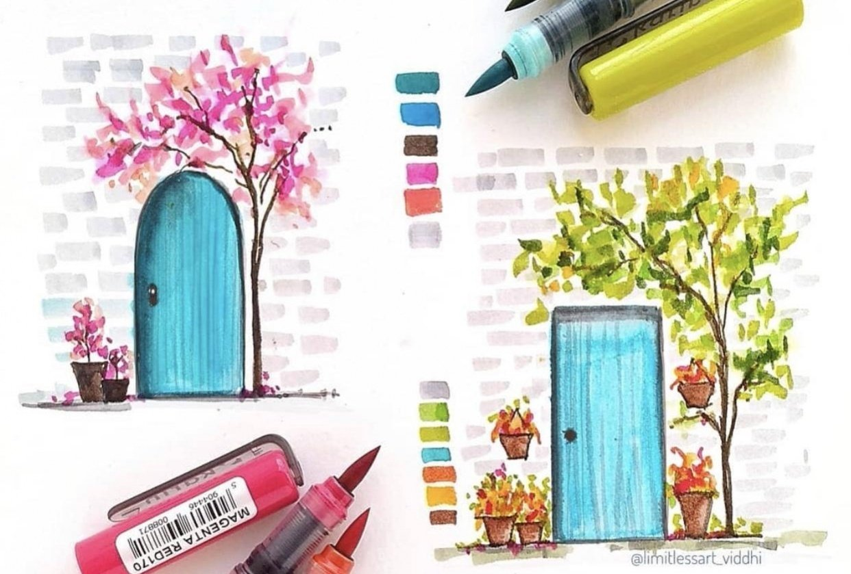 Simple door illustration with waterbased markers - student project