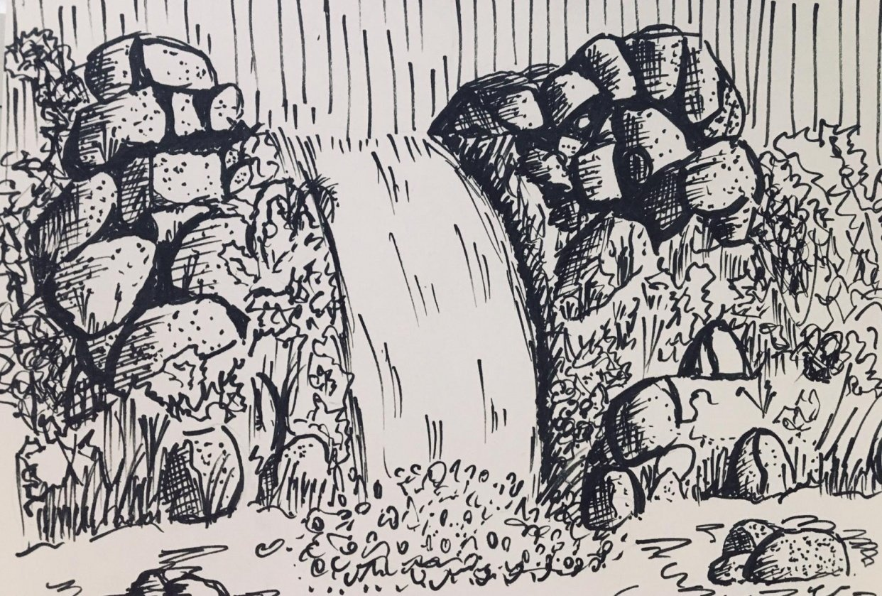 Waterfall Drawing - student project