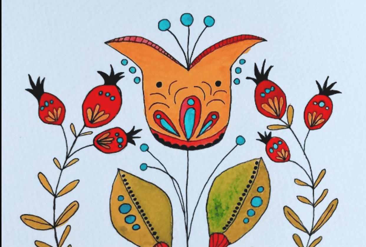 Modern Botanical Folk Art - student project