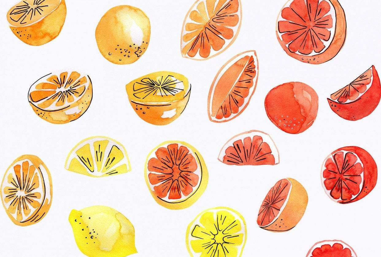 Watercolor fruit pattern - student project