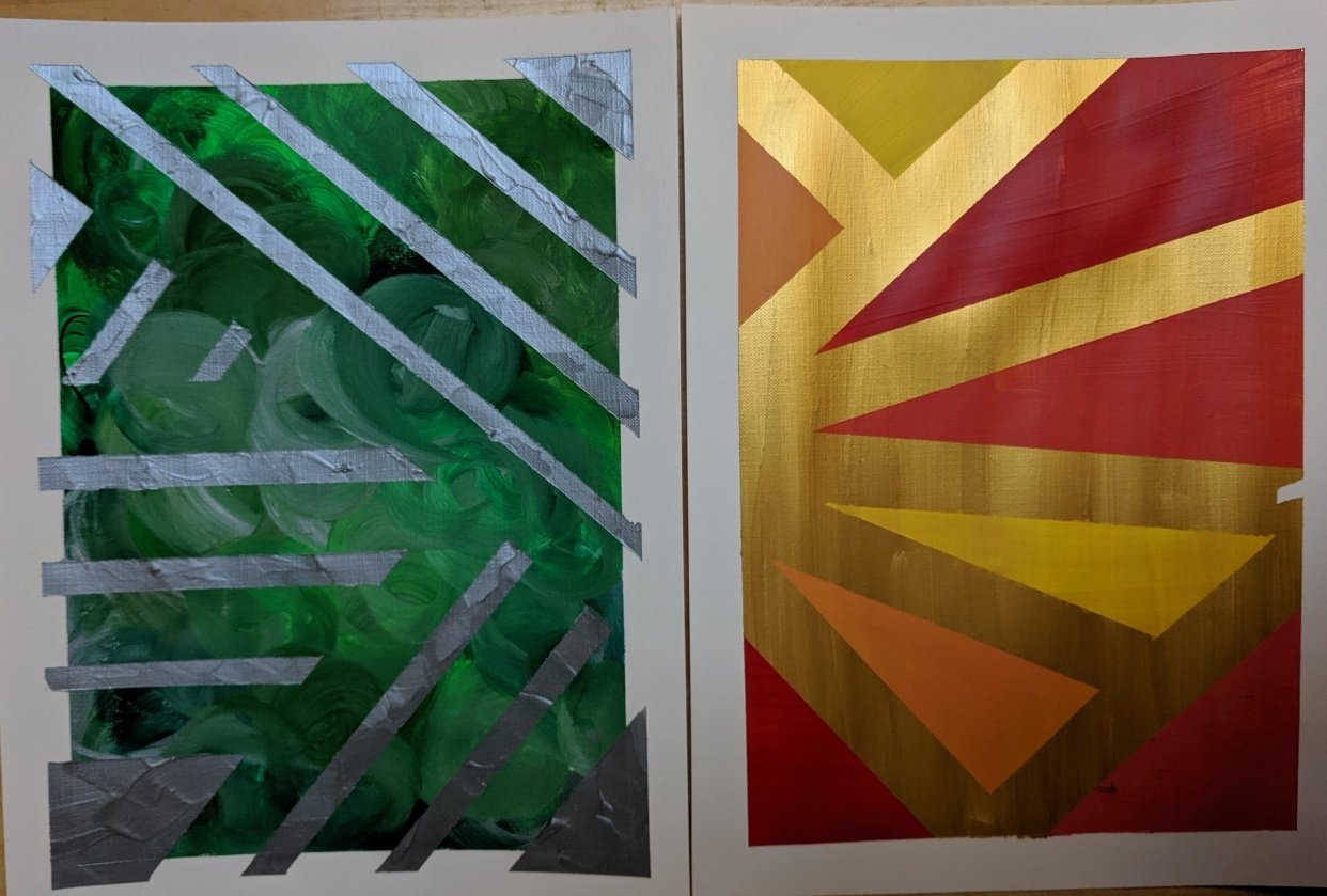 Acrylic Paintings by Beth and Mae--me and my 11 year old - student project