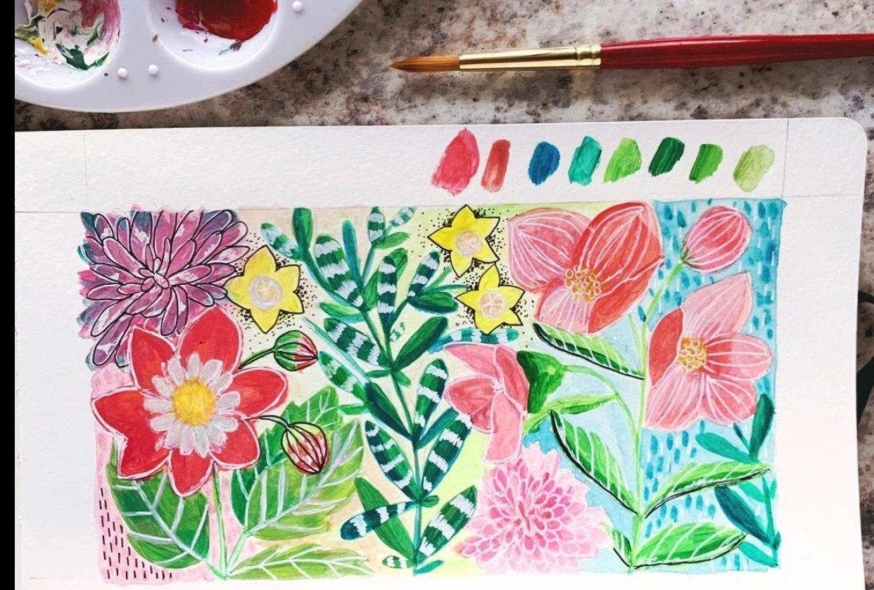 Botanical Garden - Gouache - student project