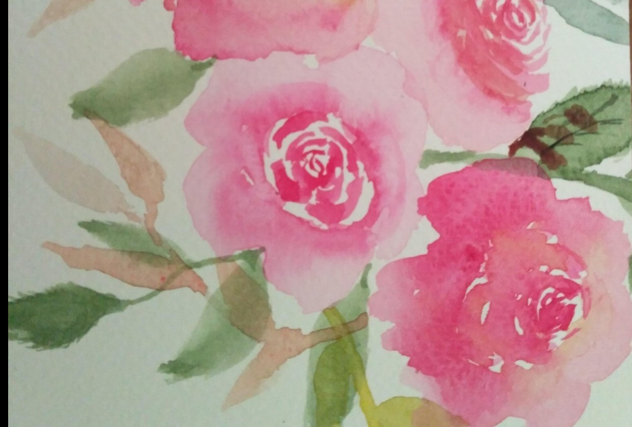 Water colour rose - student project