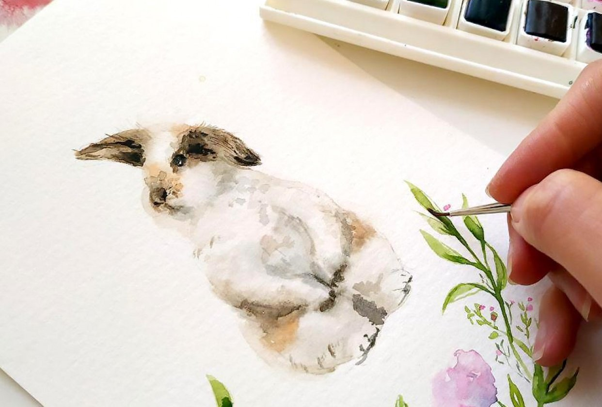 Watercolor bunnies - student project