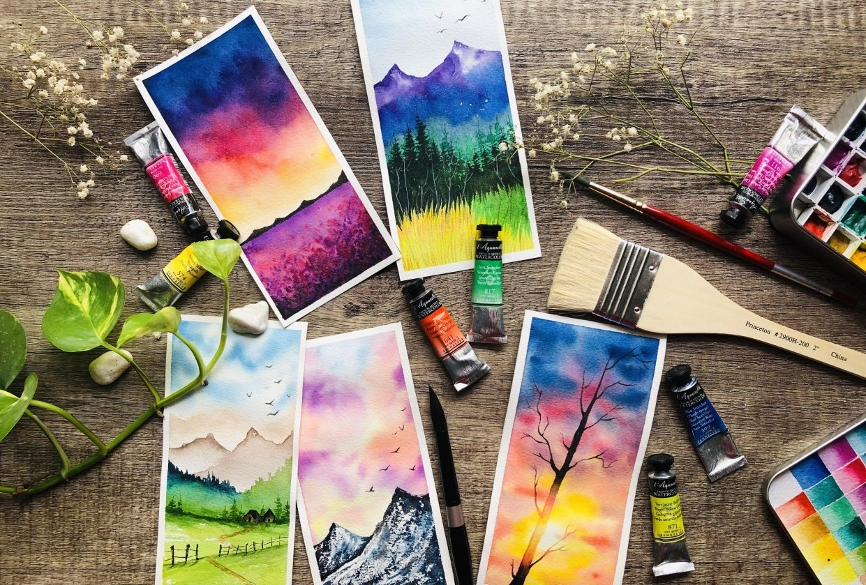 Easy Watercolor landscapes - student project