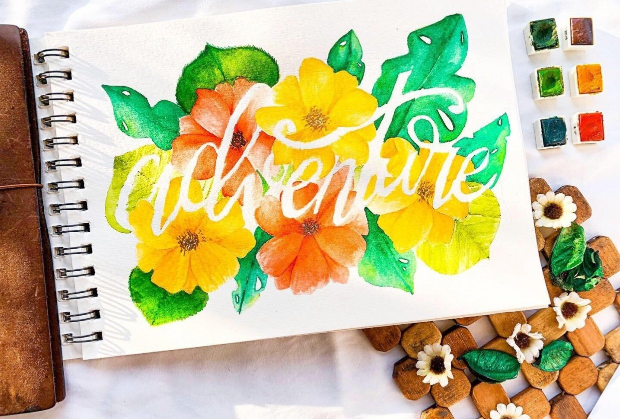 Watercolored Botanicals with Calligraphy: Adventure - student project