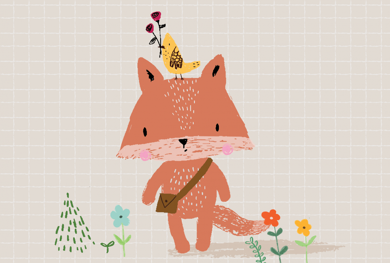 Orange baby fox and yellow little bird with roses - student project
