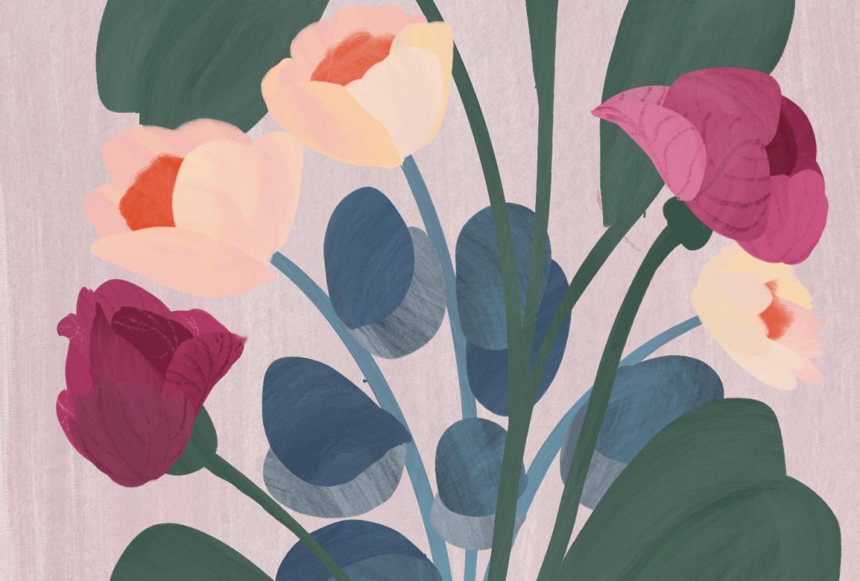 modern gouache florals bouquet - student project