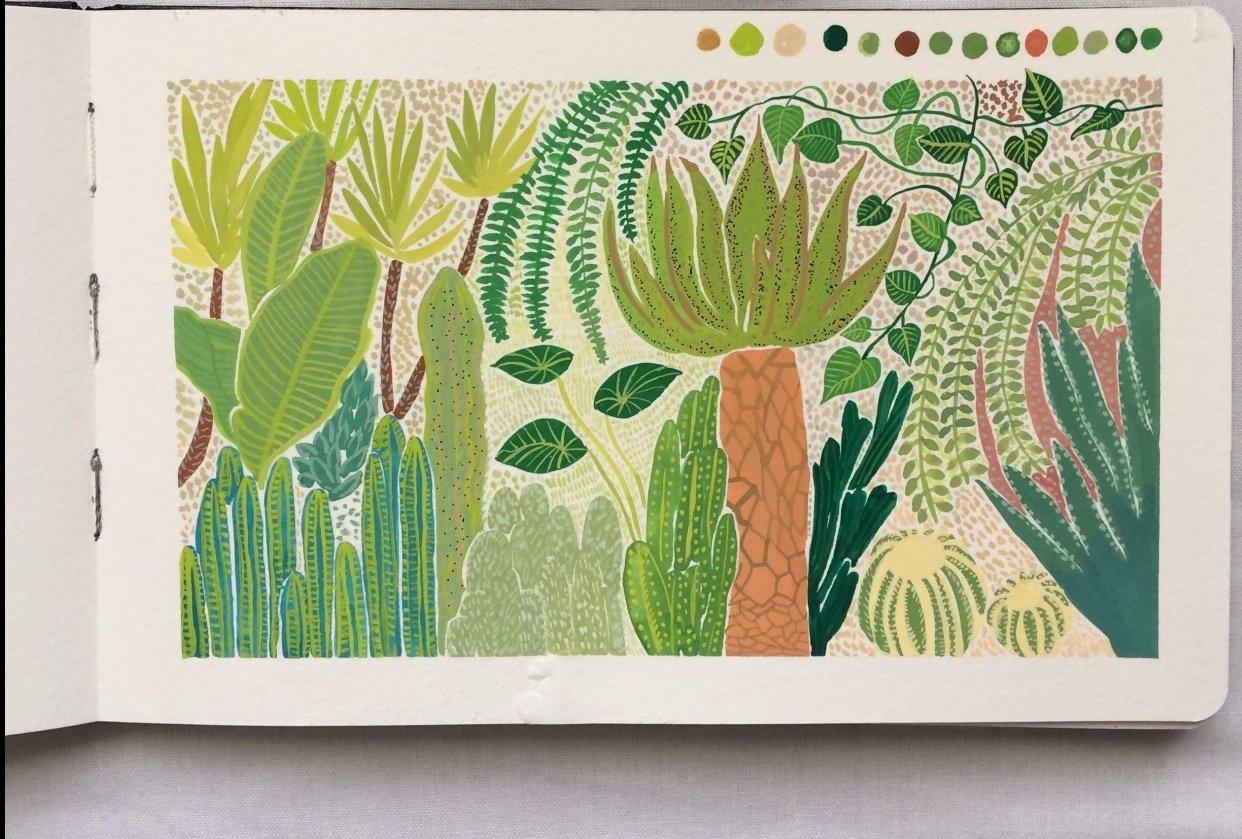Gouache Botanical Illustration - student project