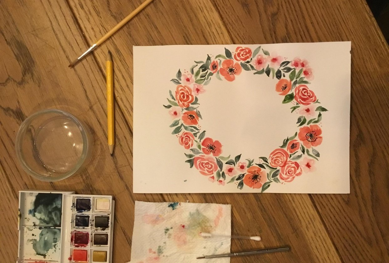 Watercolor basics - Loose floral wreath - student project