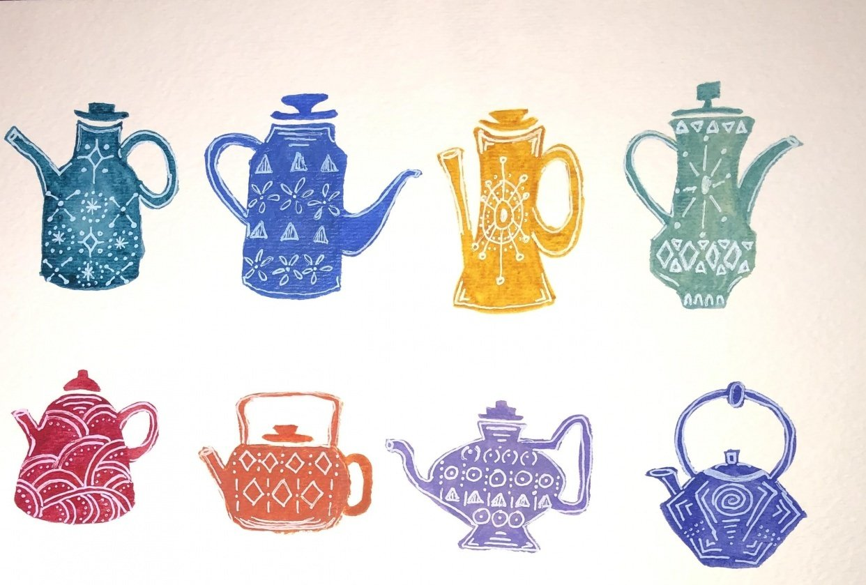 Watercolor Teapots - student project