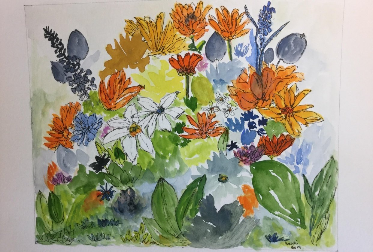 Floral Watercolor & Ink Project - student project