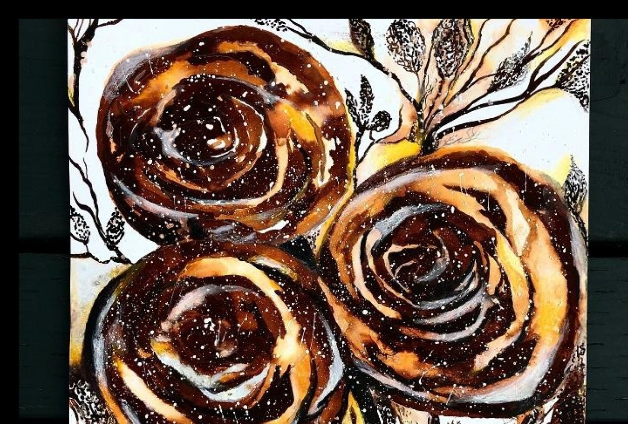 Thinking in INK - cafe au lait roses - student project