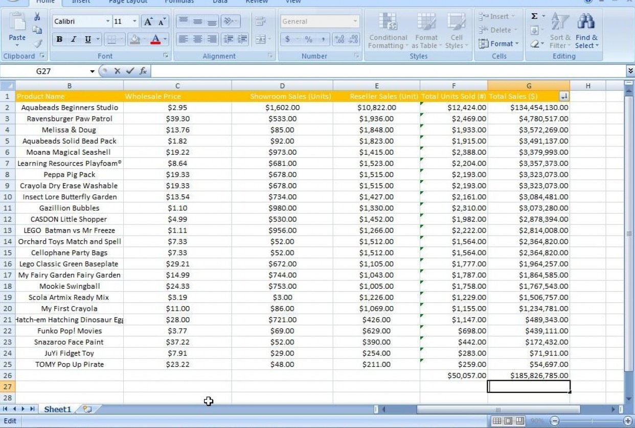 Excel Data Clean up project - student project