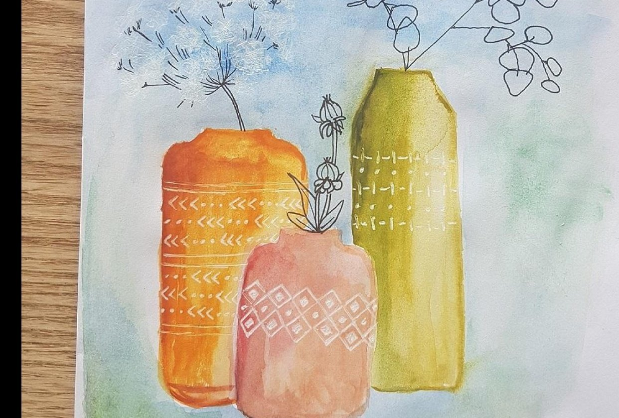 Vases - watercolor and pen - student project