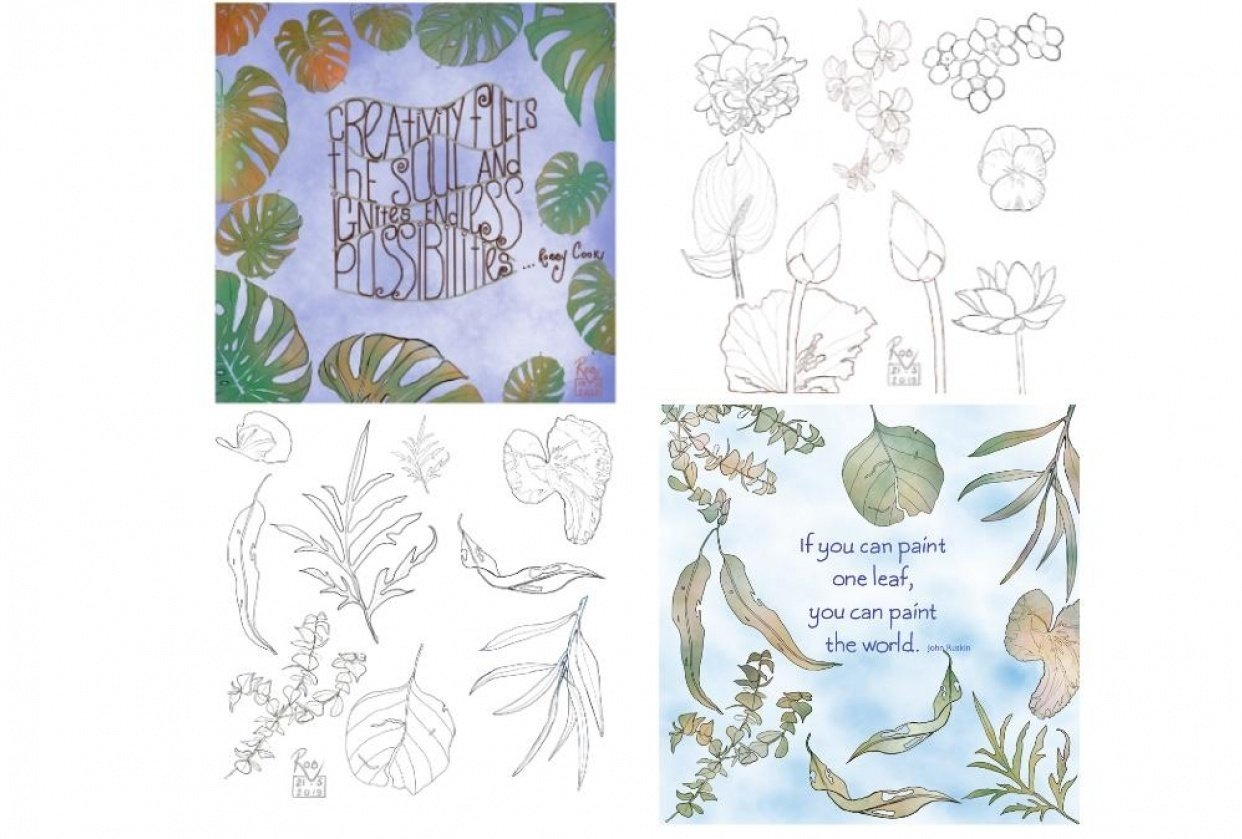 Ink and Watercolour Botanical projects - student project