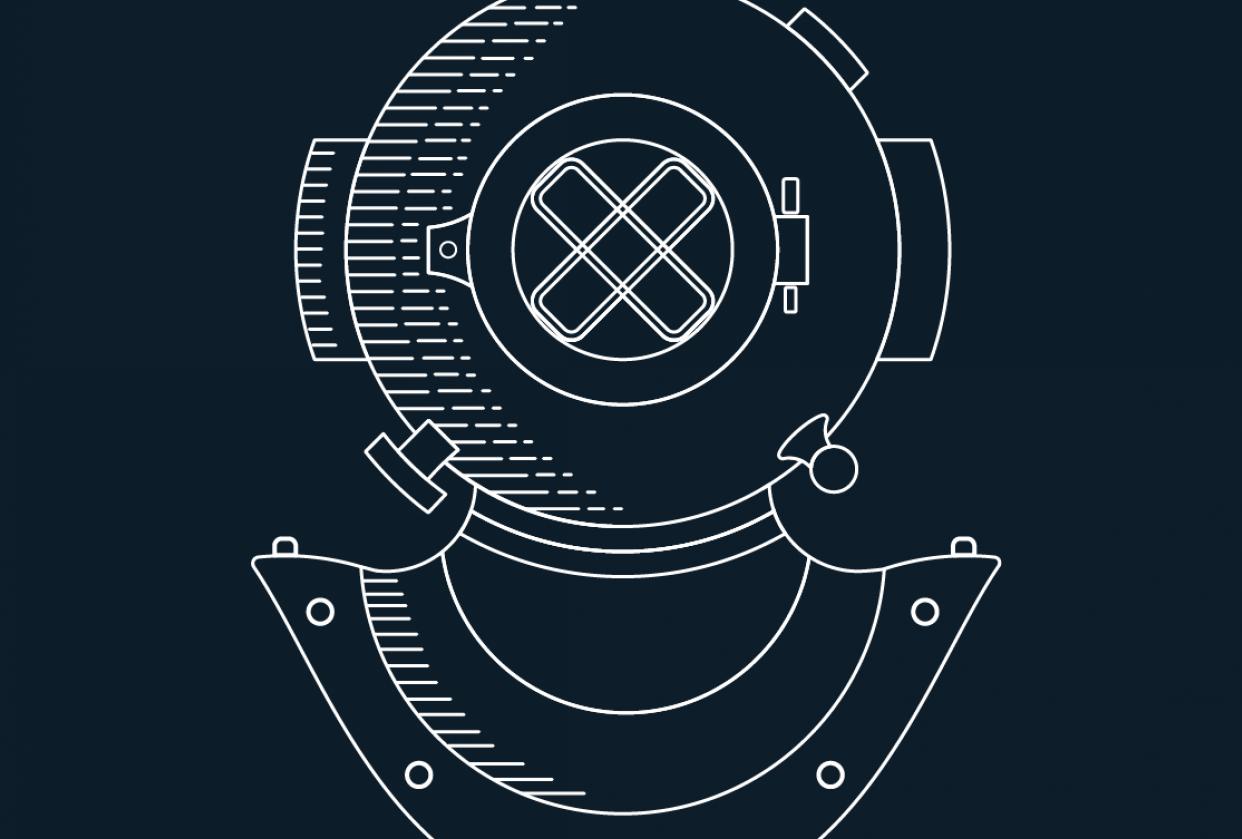 Diver Helmet Monoline Illustration - student project