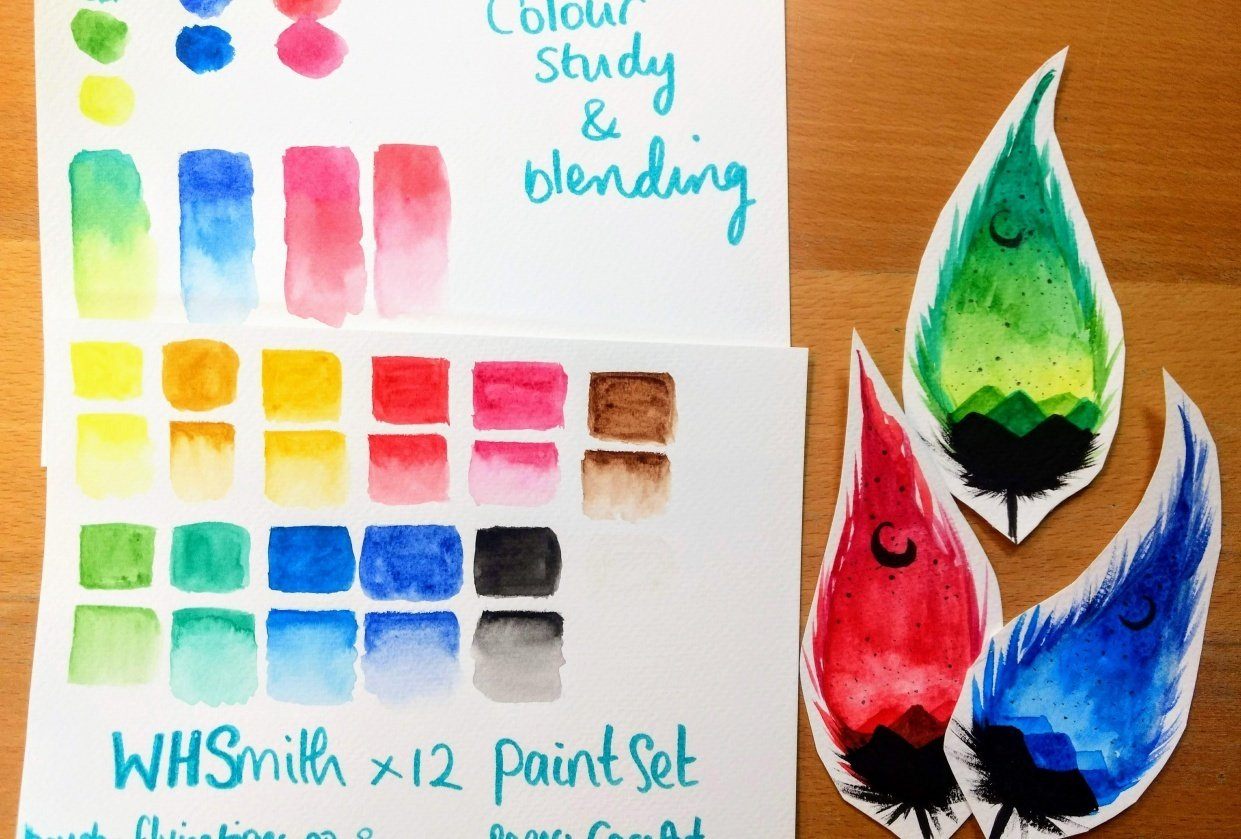 Watercolour Feathers - student project