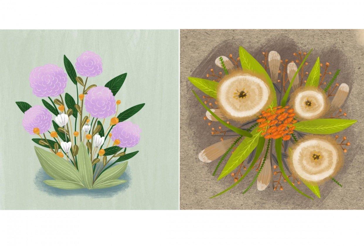 Floral gouache - student project