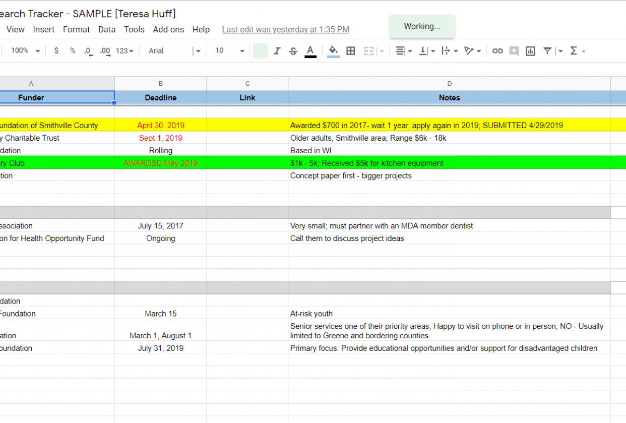 My Grant Search Tracker - student project
