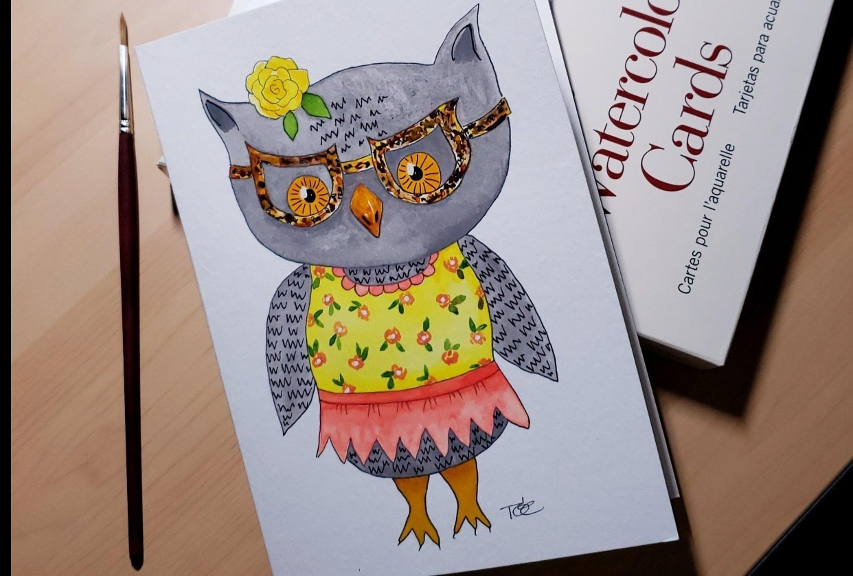 Owl girl with glasses - student project
