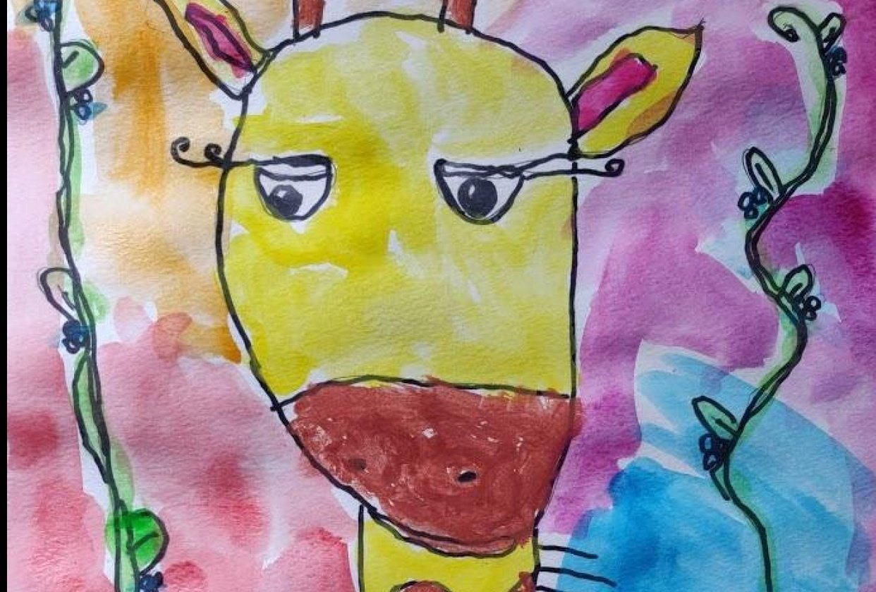 Rainbow Giraffe by my child Nada (7 years old) - student project