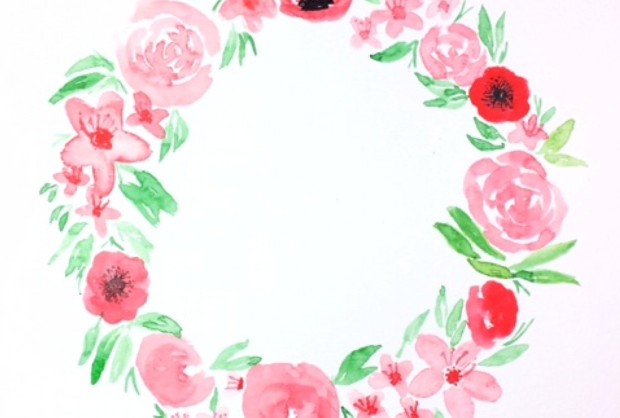 Watercolor wreath - student project