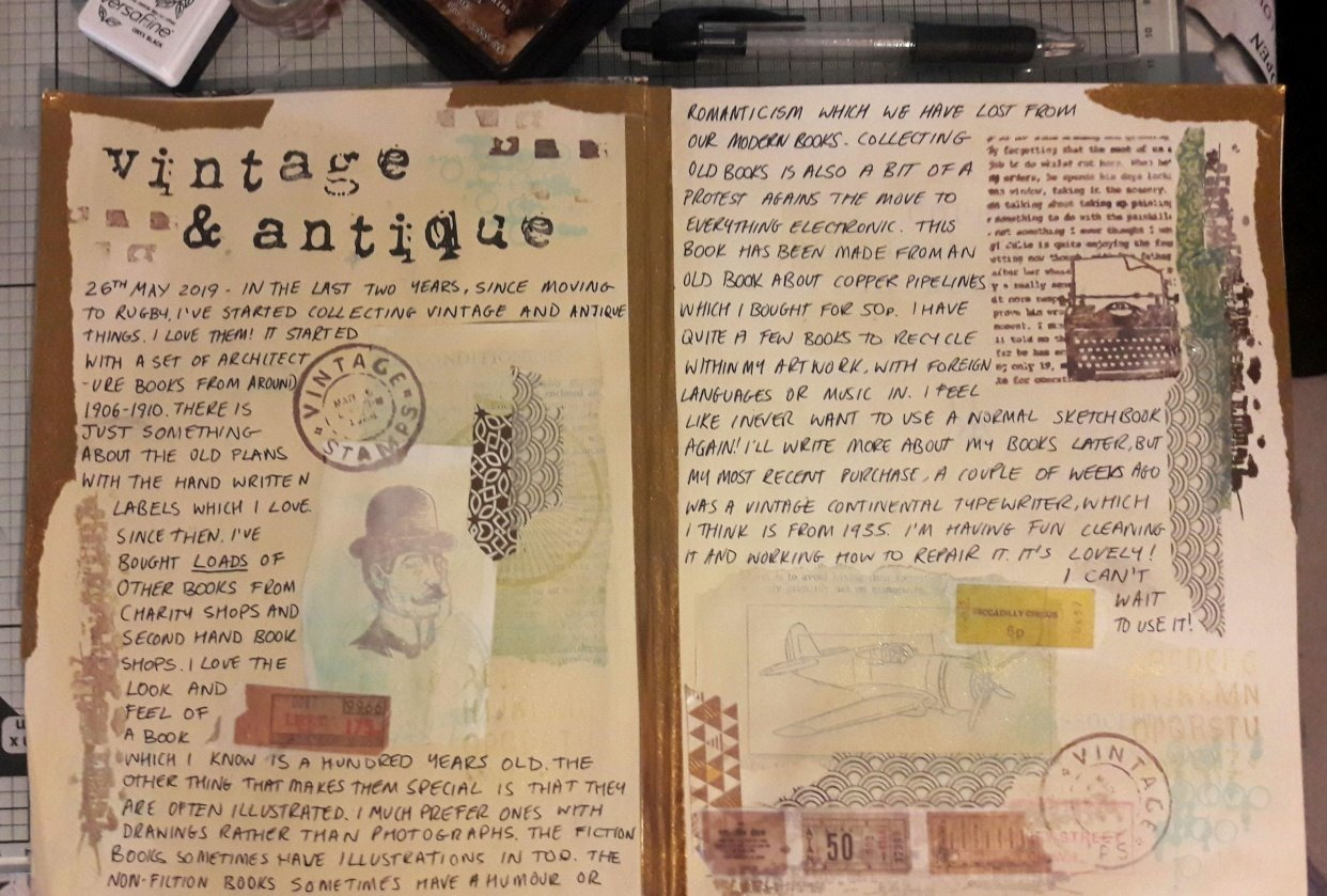 Vintage and Antique Journal Spread. - student project