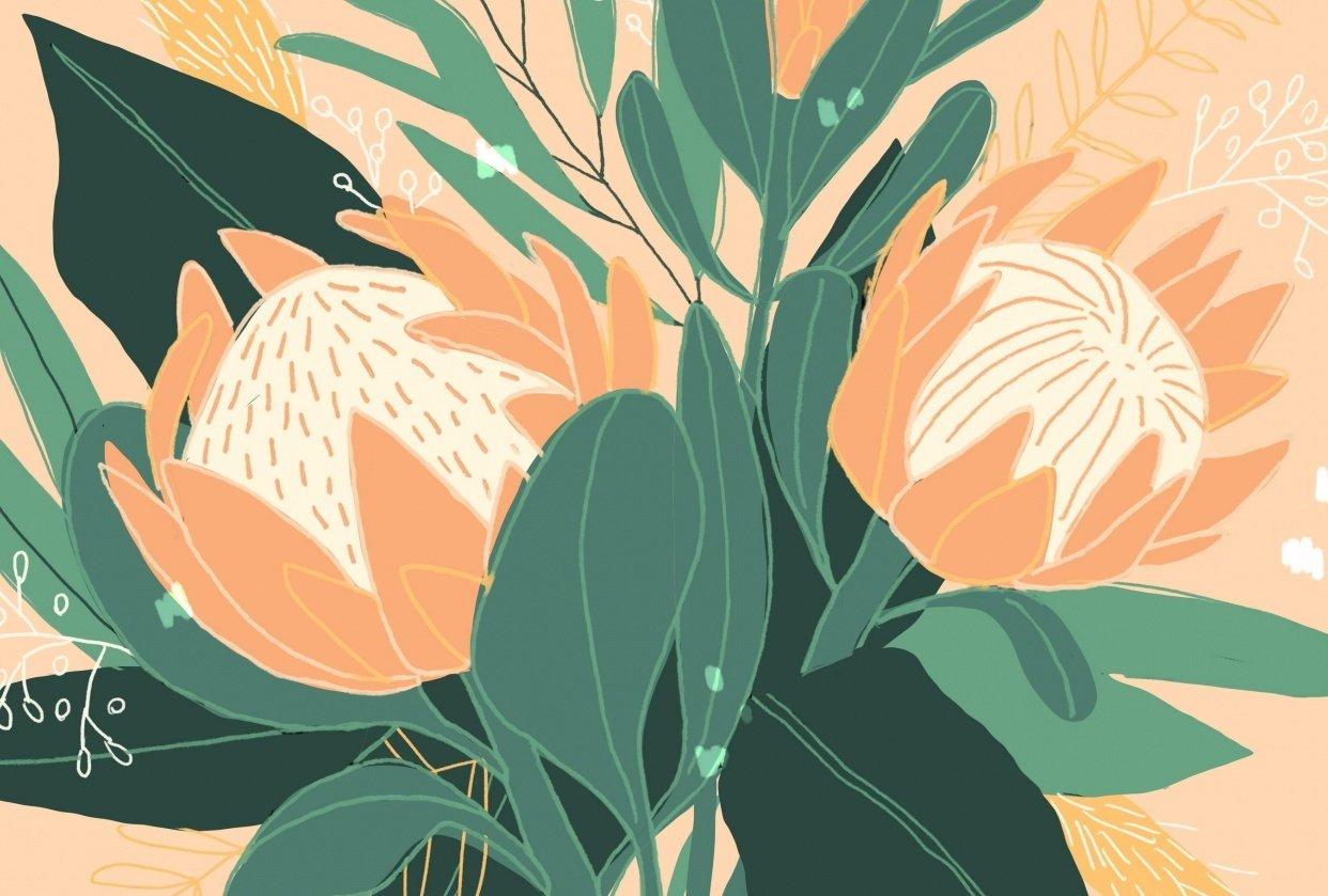 King Protea & Eucalyptus - student project