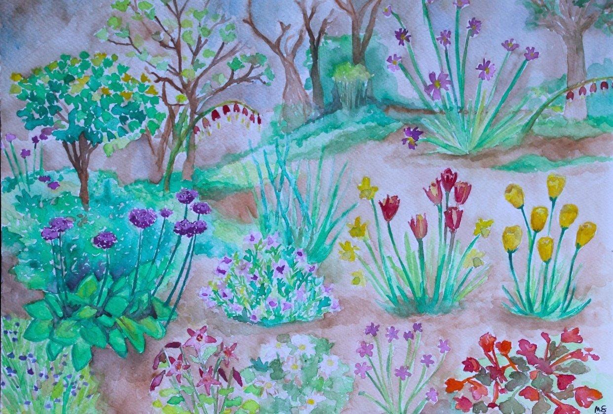 Gouache & Watercolor Garden - student project