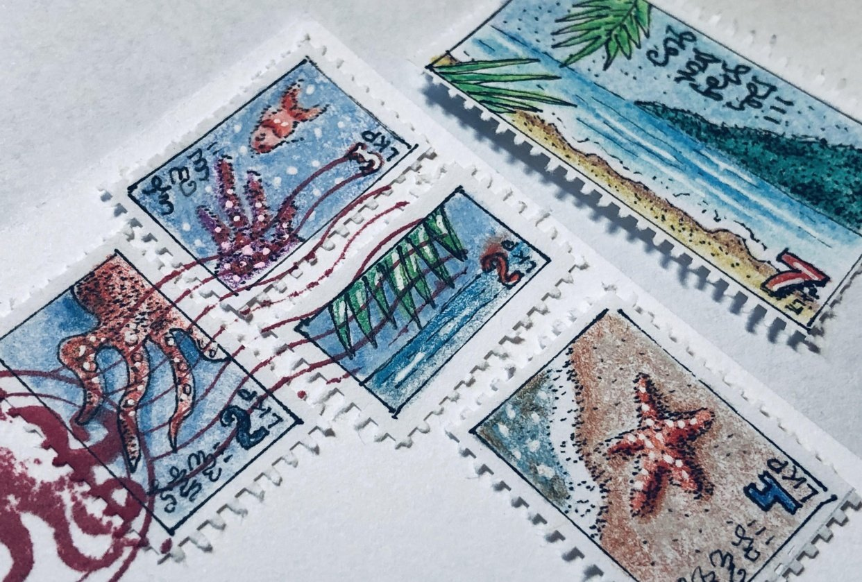 Faux Postage Stamps - student project