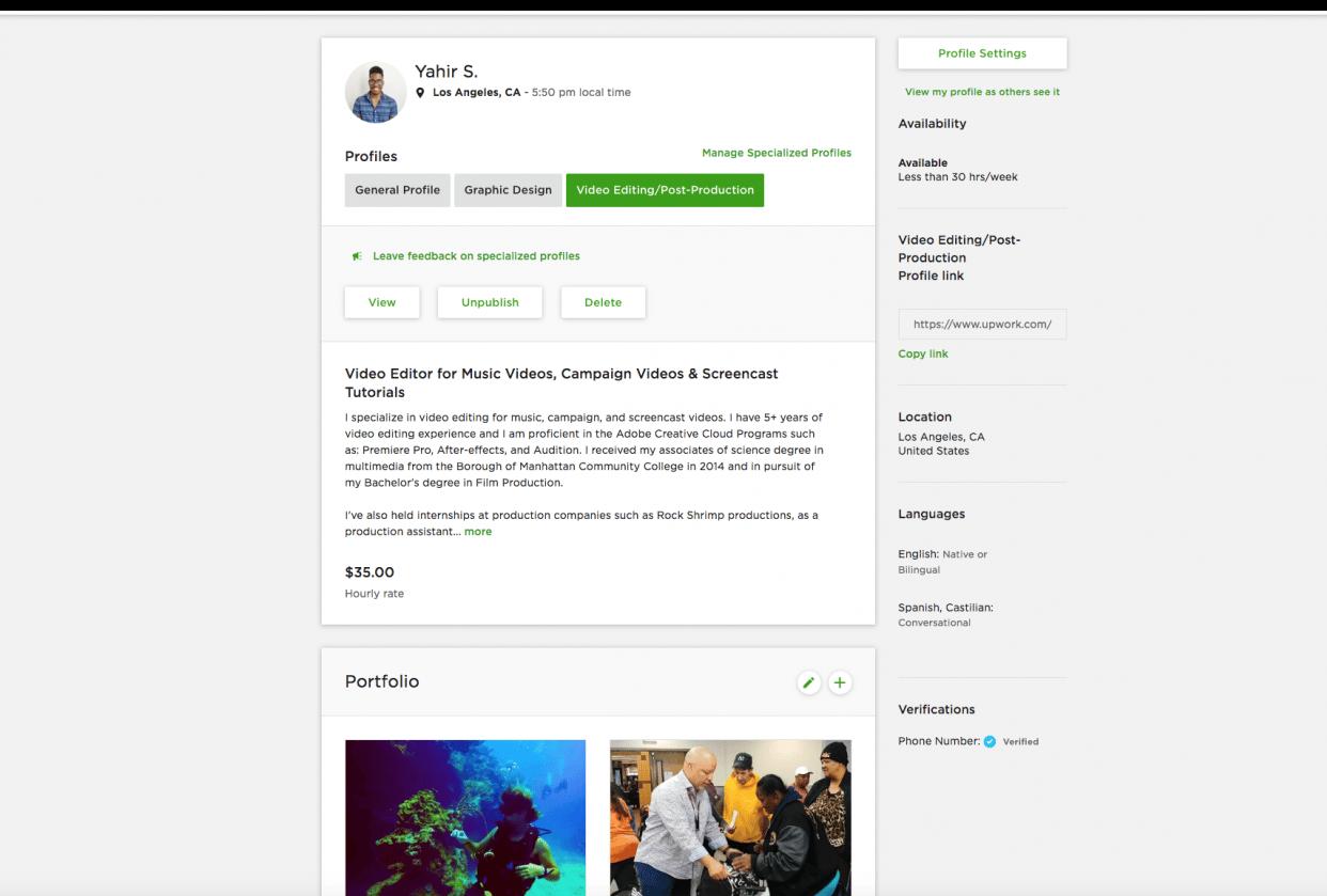 Yahir Smith Freelancer Profile - student project