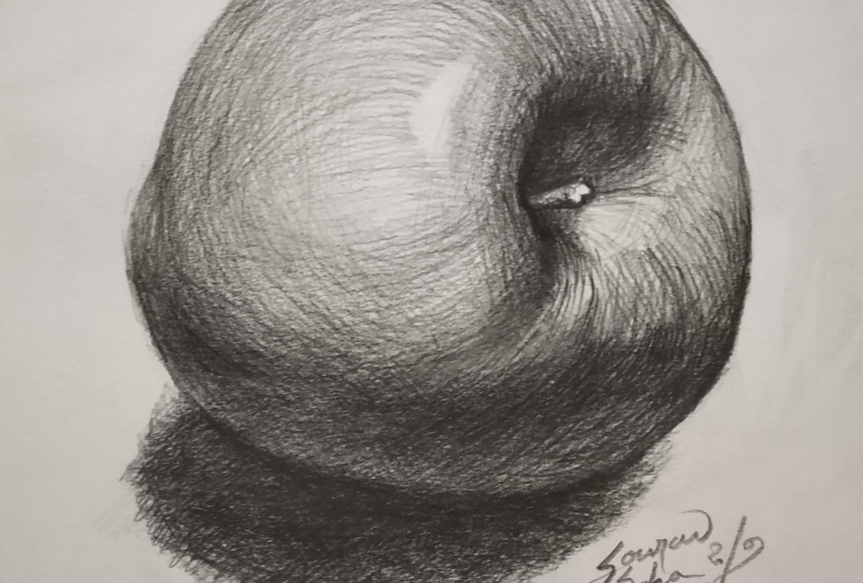 drawing an apple using all the shading principles and also hatch - student project