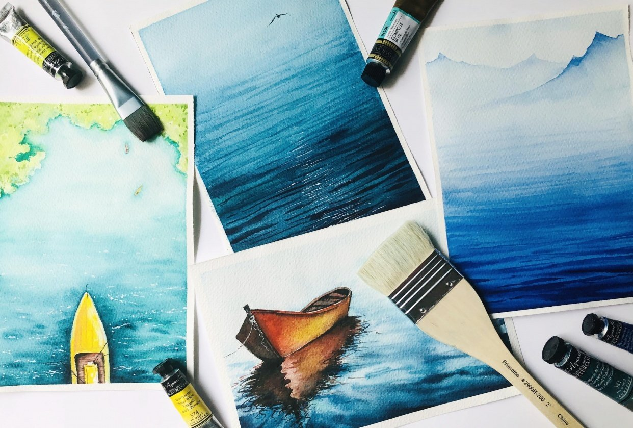Watercolour Seascapes - student project