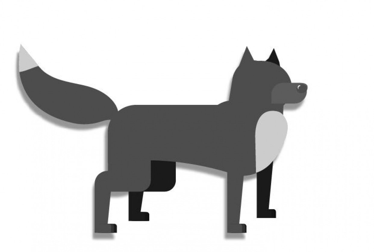 Simple Shape Animal - Tiny Wolf - student project