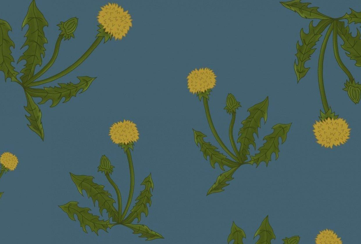 Floating Dandelions Half-Drop Pattern - student project