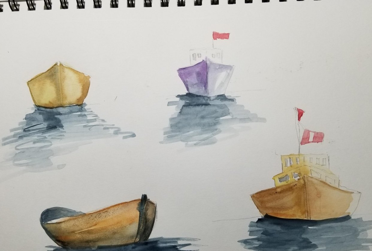 Watercolor Seascape & Boats - student project