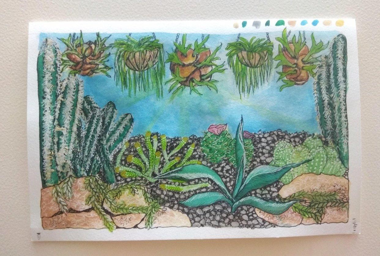 Cacti Garden (Gouache, watercolour and pen) - student project