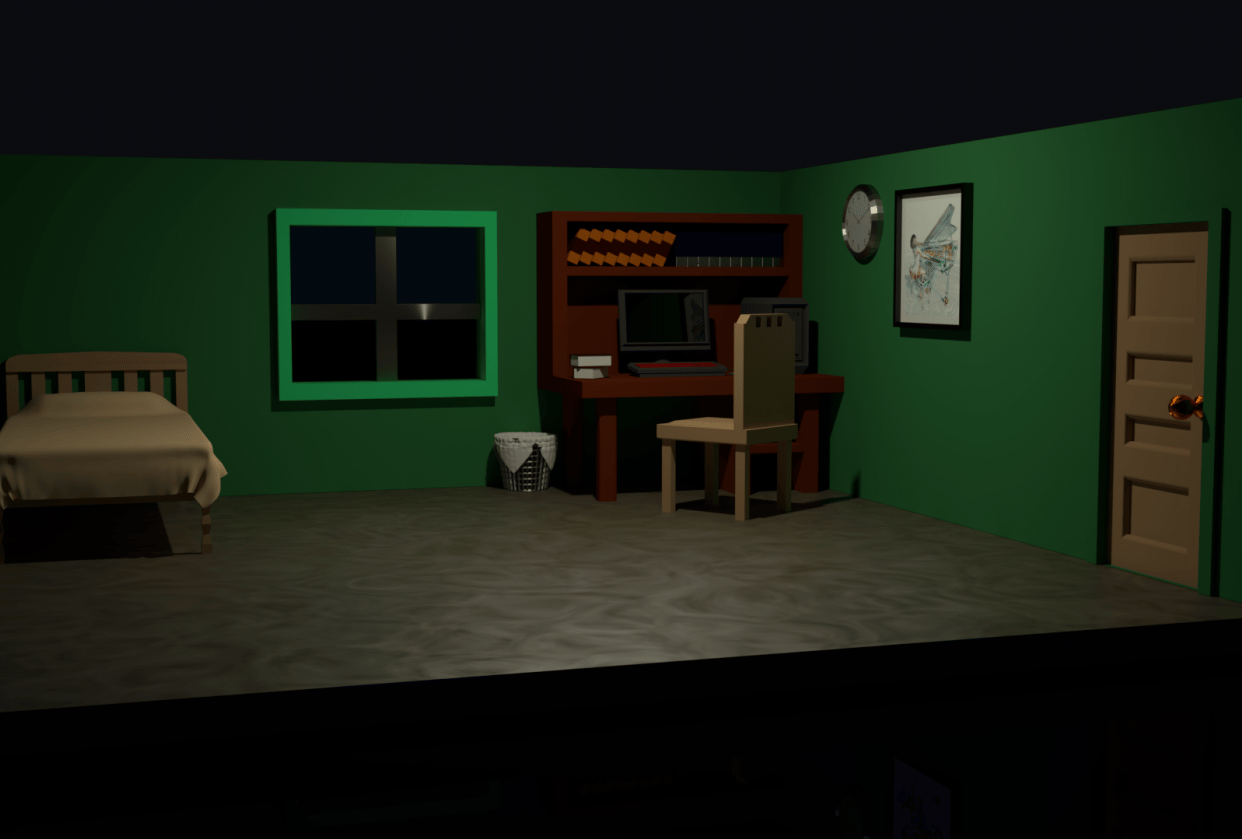 Low Poly Bedroom - student project