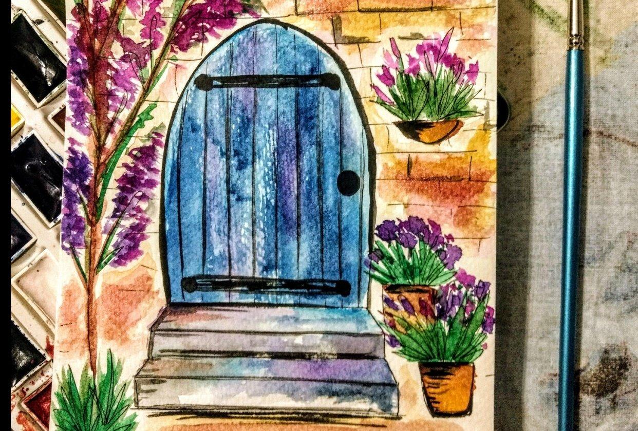 watercolour doors - student project
