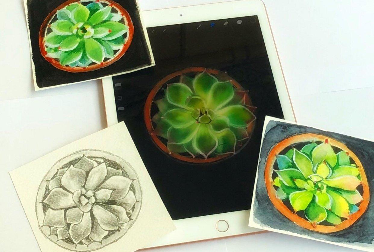 Pencil drawing, watercolor, acrylic & digital media - student project
