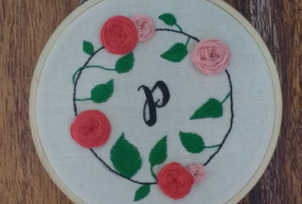 my own floral monogram hoop - student project