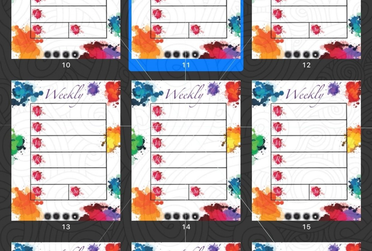 Paint Splat Planner (grey lines not on actual planner) - student project