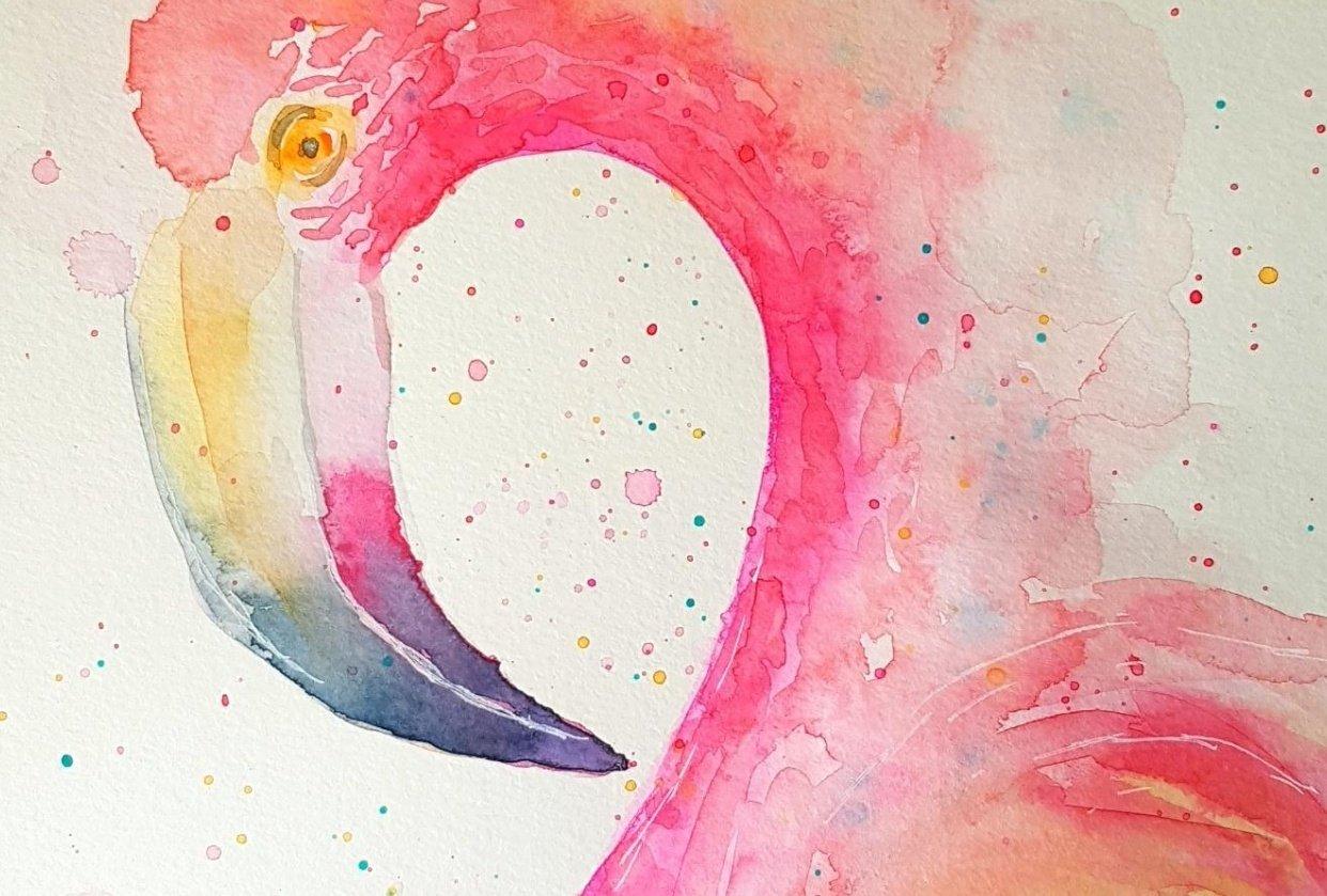 Watercolour Flamingo - student project